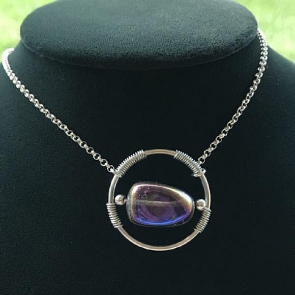 Silverskylight Jewelry - Genuine Titanium aura crystal wire wrap necklace